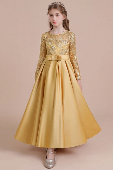 BMbridal A-Line Long Sleeve Satin Ankle Length Flower Girl Dress Online_9
