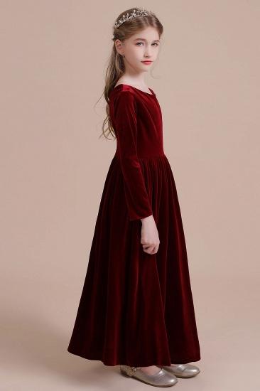 BMbridal A-Line Long Sleeve Velvet Flower Girl Dress On Sale_7