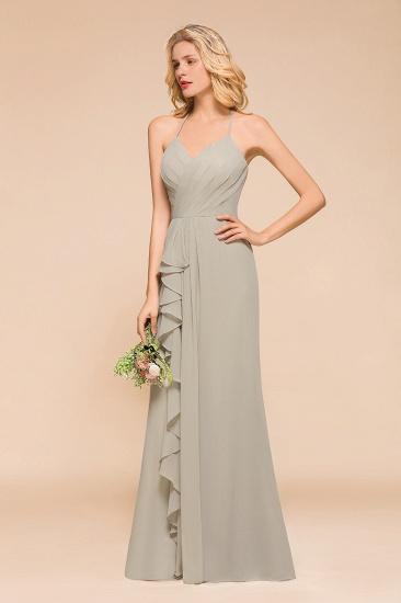 Affordable Halter V-Neck Ruffle Silver Chiffon Bridesmaid Dress Online_5