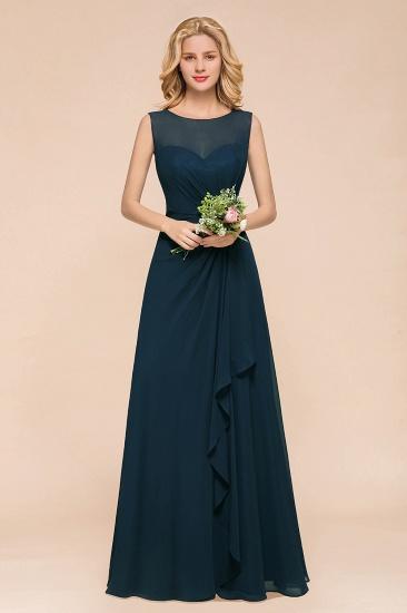BMbridal Beautiful Chiffon Jewel Ruffle Navy Affordable Bridesmaid Dresses Online_1