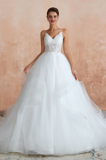Chic Spaghetti Straps See Through Bodice Wedding Dress