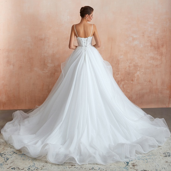 Chic Spaghetti Straps Lace Wedding Dress with See Through Bodice_4