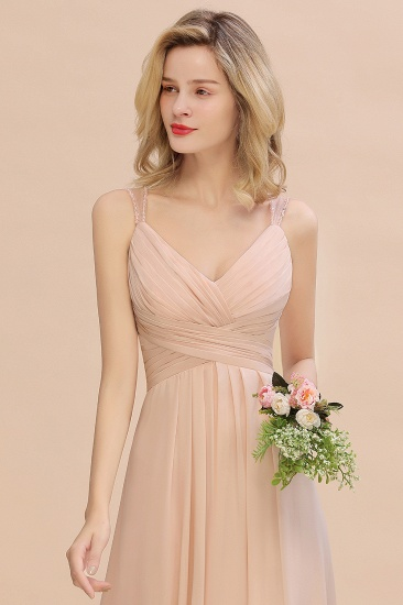 Elegant Spaghetti Straps Pink Backless Bridesmaid Dresses with Beadings_8