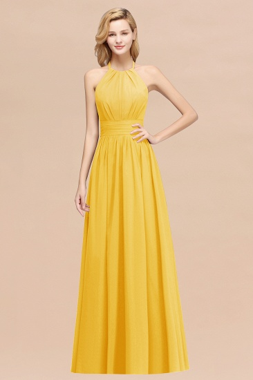 Elegant High-Neck Halter Long Affordable Bridesmaid Dresses with Ruffles_17