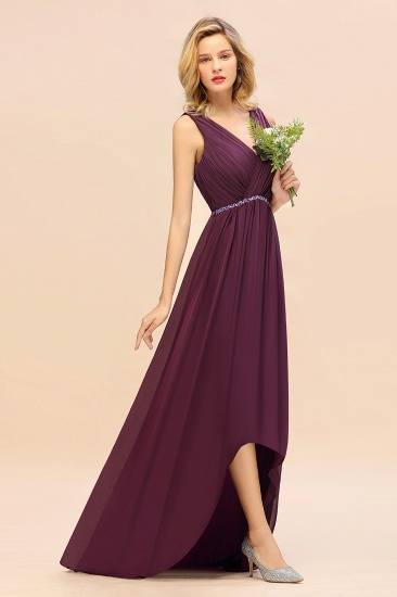 Chic Hi-Lo V Neck Ruffle Bridesmaid Dress with Beading Sash_7
