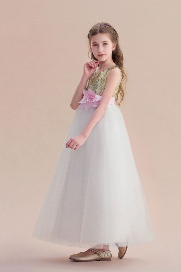 BMbridal A-Line Sequins Tulle High-waisted Flower Girl Dress On Sale_7