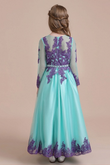 BMbridal A-Line Chic Long Sleeve Appliques Flower Girl Dress Online_3