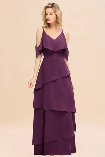 BMbridal Chic Cold-Shoulder Layers Grape Chiffon Bridesmaid Dress Affordable_6