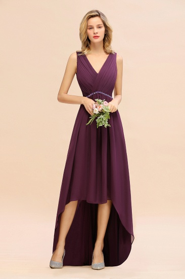 Chic Hi-Lo V Neck Ruffle Bridesmaid Dress with Beading Sash_1