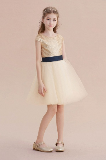 BMbridal A-Line Sequins Tulle Cap Sleeve Flower Girl Dress Online_5