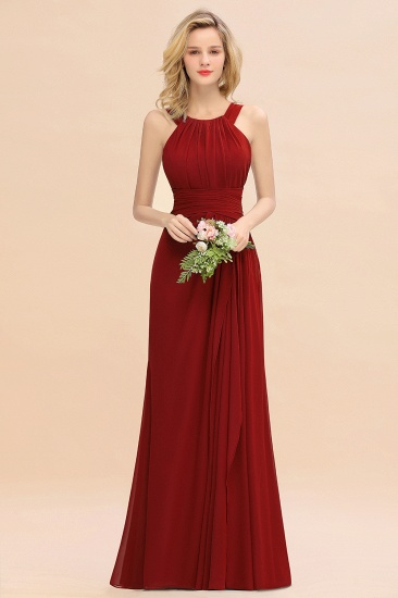 Elegant Round Neck Sleeveless Stormy Bridesmaid Dress with Ruffles_48