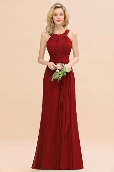 BMbridal Elegant Round Neck Sleeveless Stormy Bridesmaid Dress with Ruffles_48