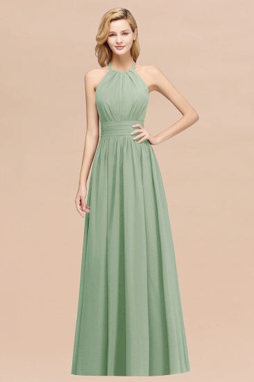 Elegant High-Neck Halter Long Affordable Bridesmaid Dresses with Ruffles_41