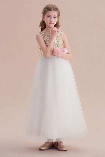 BMbridal A-Line Sequins Tulle High-waisted Flower Girl Dress On Sale_4