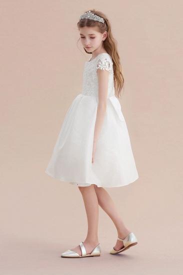 BMbridal A-Line Cap Sleeve Lace Bow Flower Girl Dress On Sale_6