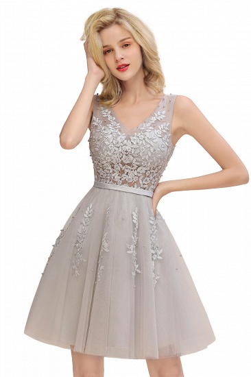 BMbridal Elegant V-Neck Sleeveless Short Prom Dress Mini Homecoming Dress With Lace Appliques_9
