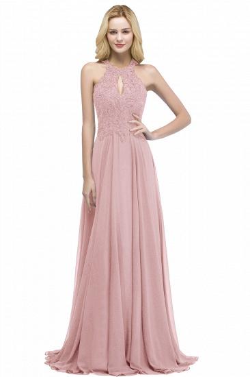 BMbridal A-line Keyhole Neckline Halter Long Beading Prom Dress_1