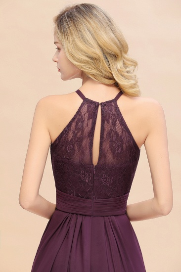 Elegant Halter Ruffles Sleeveless Grape Lace Bridesmaid Dresses Cheap_57