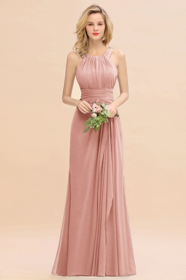 Elegant Round Neck Sleeveless Stormy Bridesmaid Dress with Ruffles_50