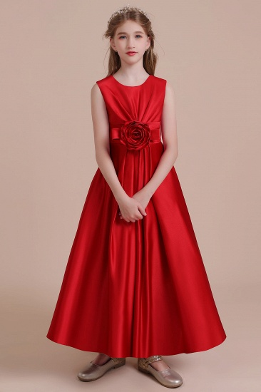 BMbridal A-Line Chic Satin Ankle Length Flower Girl Dress Online
