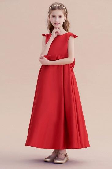 BMbridal A-Line Satin Bow Ankle Length Flower Girl Dress On Sale_4