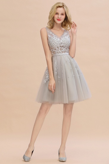 Elegant V-Neck Sleeveless Short Prom Dress Mini Homecoming Dress With Lace Appliques_19