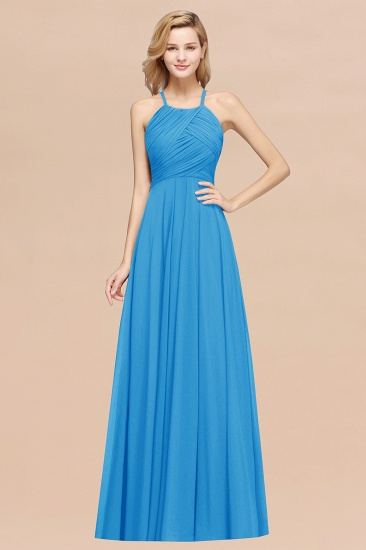 Halter Crisscross Pleated Bridesmaid Dress Blue Chiffon Sleeveless Maid of Honor Dress_25