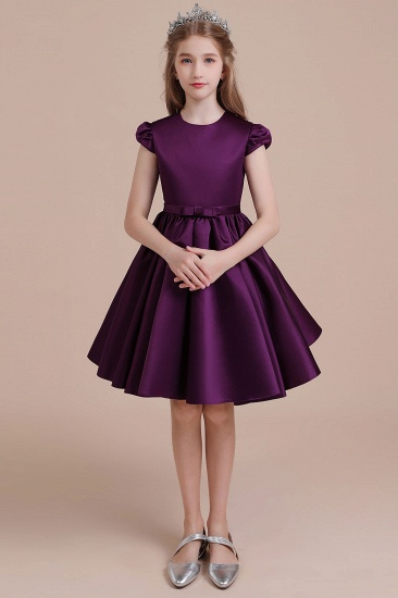 BMbridal A-Line Graceful Cap Sleeve Satin Flower Girl Dress Online