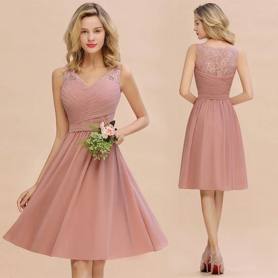 BMbridal A-line Chiffon Ruffle Bridesmaid Dress Sleeveless Lace Homecoming Dress_14