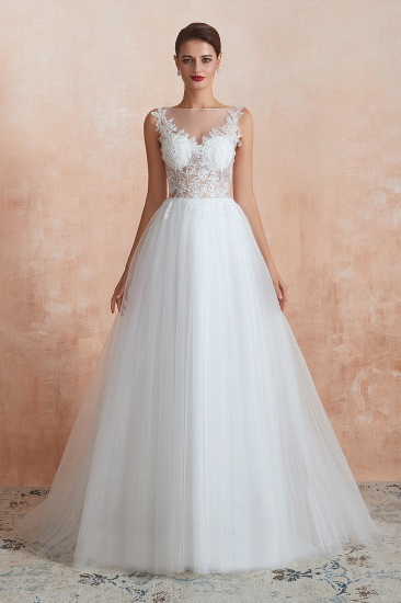 Exquisite Sequins White Appliques Tulle Wedding Dress