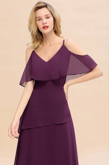 BMbridal Chic Cold-Shoulder Layers Grape Chiffon Bridesmaid Dress Affordable_8