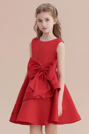 BMbridal A-Line Chic Bow Satin Knee Length Flower Girl Dress On Sale_8