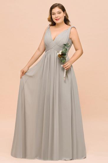 Plus Size Chiffon V-neck Sleeveless Affordable Bridesmaid Dress with Ruffle_6