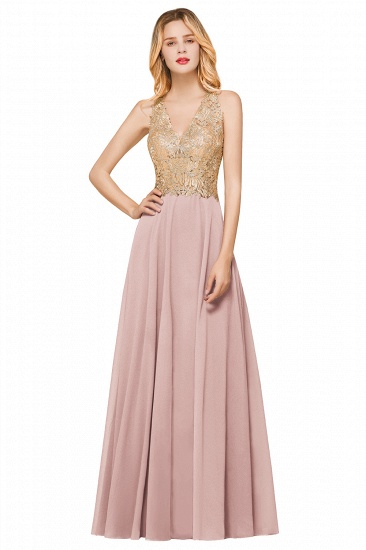 BMbridal Gorgeous V-Neck Burgundy Prom Dress Long Sleeveless Evening Gowns With Appliques_1