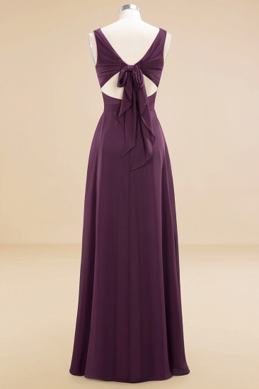 BMbridal Affordable V-Neck Ruffle Long Grape Chiffon Bridesmaid Dress with Bow_60