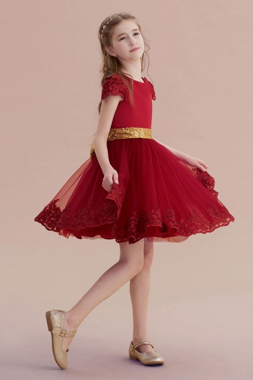 BMbridal A-Line Cap Sleeve Bow Knee Length Flower Girl Dress Online_5