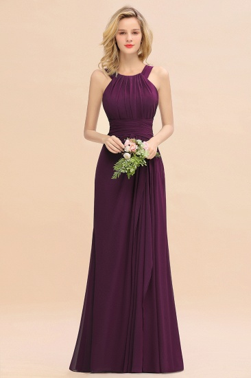 Elegant Round Neck Sleeveless Stormy Bridesmaid Dress with Ruffles_20