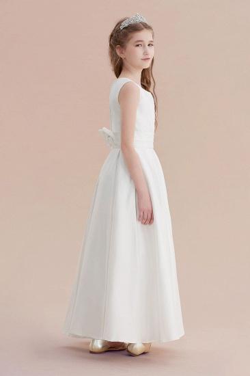 BMbridal A-Line Simple Satin Flower Girl Dress On Sale_3