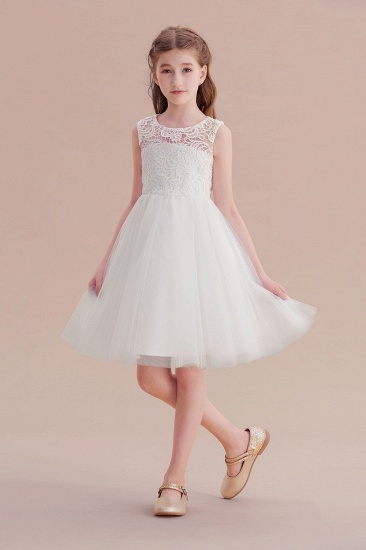 BMbridal A-Line Bow Tulle Lace Knee Length Flower Girl Dress Online_6