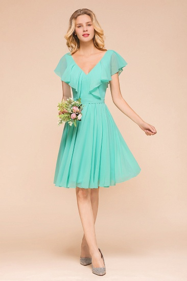 Chic V-Neck Ruffle Chiffon Short Affordable Bridesmaid Dresses Online_3