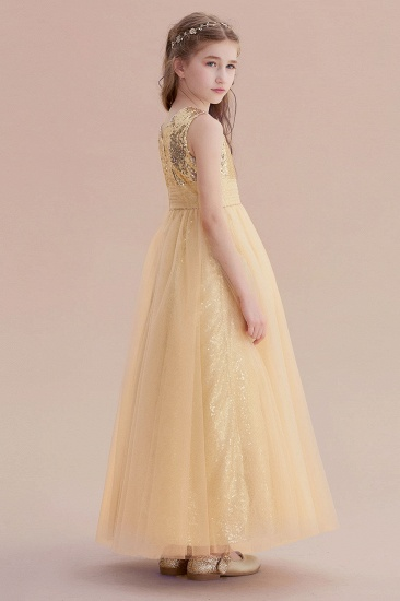 BMbridal A-Line Awesome Sequins Tulle Flower Girl Dress Online_7