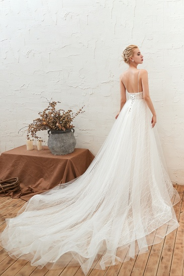 Affordable Tulle V-Neck Long Wedding Dress Online with Appliques_6