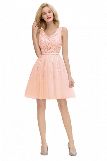 Elegant V-Neck Sleeveless Short Prom Dress Mini Homecoming Dress With Lace Appliques_27