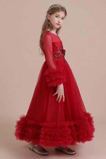 BMbridal A-Line Long Sleeve Applique Tulle Flower Girl Dress On Sale_9