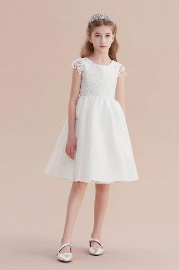 BMbridal A-Line Cap Sleeve Lace Bow Flower Girl Dress On Sale_5