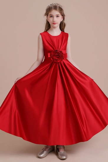 BMbridal A-Line Chic Satin Ankle Length Flower Girl Dress Online_7
