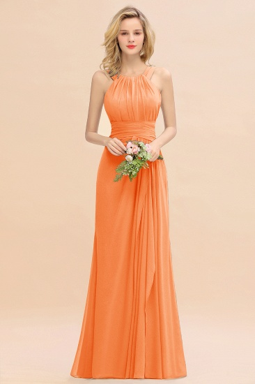 Elegant Round Neck Sleeveless Stormy Bridesmaid Dress with Ruffles_15