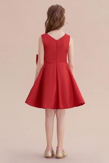 BMbridal A-Line Chic Bow Satin Knee Length Flower Girl Dress On Sale_3