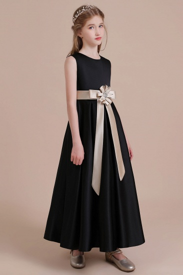 BMbridal A-Line Elegant Satin Flower Girl Dress Online_5
