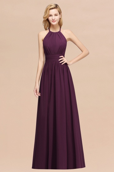 Elegant High-Neck Halter Long Affordable Bridesmaid Dresses with Ruffles_20